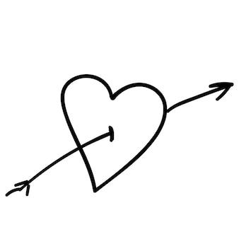 Freccia a forma di cuore per l'illustrazione vettoriale dello schizzo del disegno della mano di doodle di infografica