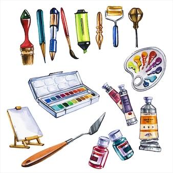 Attributi di arte, set di illustrazioni ad acquerello disegnato a mano di strumenti dell'artista pennelli e colori, confezione di strumenti per pittori articoli per laboratori artistici collezione di dipinti di acquarello