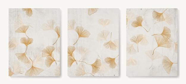 Sfondo artistico con foglie di ginkgo dalle linee dorate in stile orientale nei toni del beige per la decorazione.