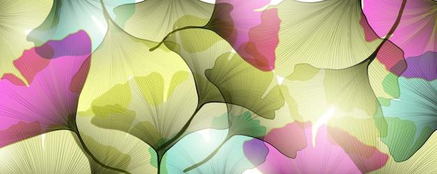 Sfondo artistico con foglie di ginkgo trasparenti di diversi colori per il design del packaging, banner web e social network