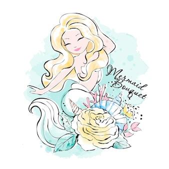 Arte. bellissima sirena con fiori, conchiglie e coralli. stampa per vestiti e tessuti. inchiostro alla moda e stile acquerello.