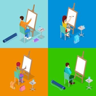 Lezione d'arte con gli studenti che dipingono