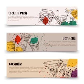 Art cocktail party s con spruzzi - modelli di banner menu