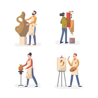 Raccolta delle persone del laboratorio di pratica del mestiere di arte