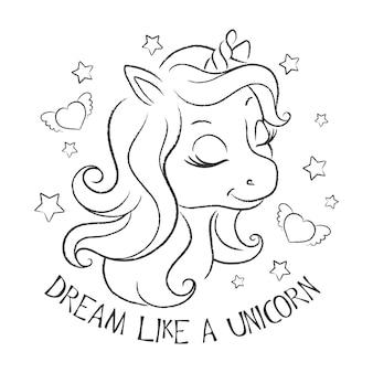 Arte. unicorno carino. pagine da colorare. stampa di illustrazione di moda in stile moderno per vestiti o tessuti e libri. sogna come un unicorno.