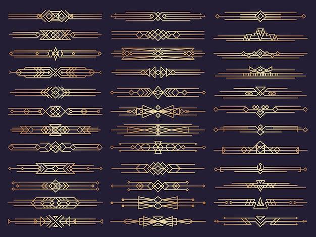 Confini art deco. i divisori retrò modellano gli elementi decorativi dell'ornamento
