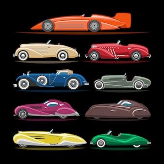 L'insieme moderno dell'illustrazione dell'automobile dell'automobile di trasporto dell'automobile di art deco e di retro art deco moderno di vecchio veicolo automobilistico citycar sull'illustrazione nera del fondo