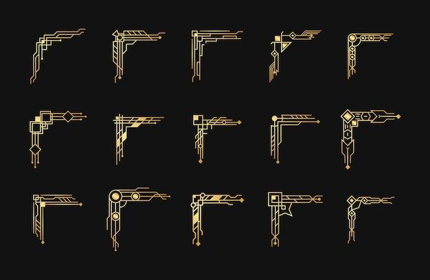 Set di angoli art deco oro