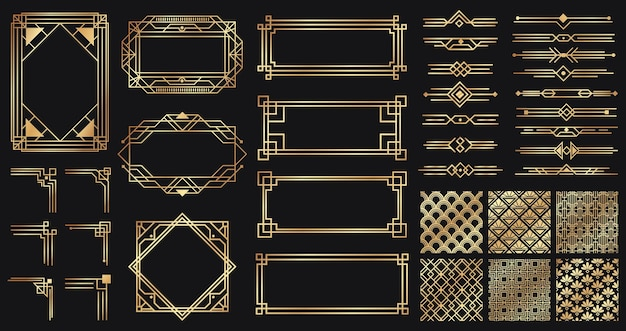 Insieme di elementi di art deco. bordi e cornici dorati creativi. divisori e collettori per design di lusso o premium. vecchi elementi eleganti antichi isolati su oscurità. decorazione per illustrazione vettoriale di carte