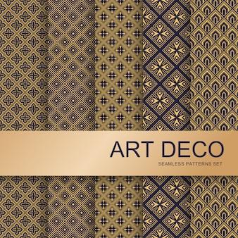 Set di motivi art deco. arti geometriche vintage e linea deco ornato. insieme di lusso astratto elegante senza cuciture di vettore dei modelli del gatsby degli ornamenti minimi dell'oro della geometria