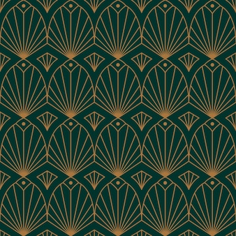 Modello senza cuciture art déco in uno stile minimal alla moda. fondo geometrico astratto di vettore con le linee dorate. per l'imballaggio, la stampa su tessuto, il marchio, la carta da parati, le copertine