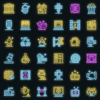 Set di icone del direttore artistico. contorno set di icone vettoriali art director colore neon su nero
