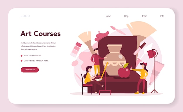 Banner web o pagina di destinazione per l'educazione artistica