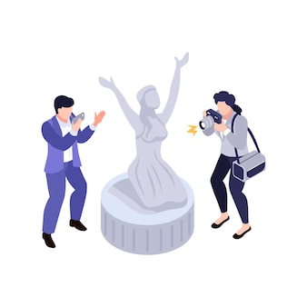 Illustrazione isometrica della mostra d'arte con due personaggi che scattano foto della statua