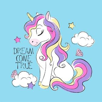 Illustrazione di moda arte disegno in stile moderno per i vestiti. unicorno carino. il sogno diventa vero testo.