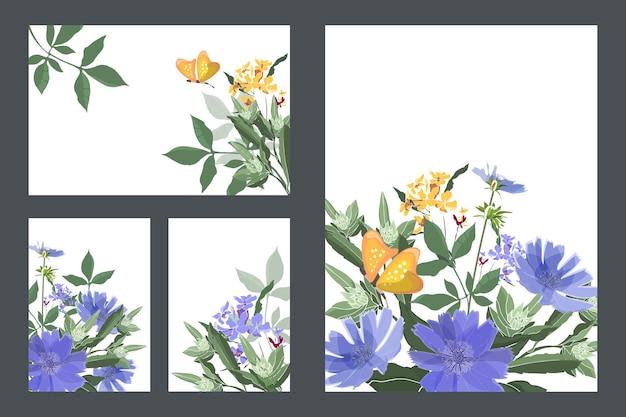 Saluto floreale di arte e biglietti da visita. carte con cicoria blu, farfalle gialle, steli e foglie verdi. piccoli fiori blu e gialli. fiori isolati su uno sfondo bianco.