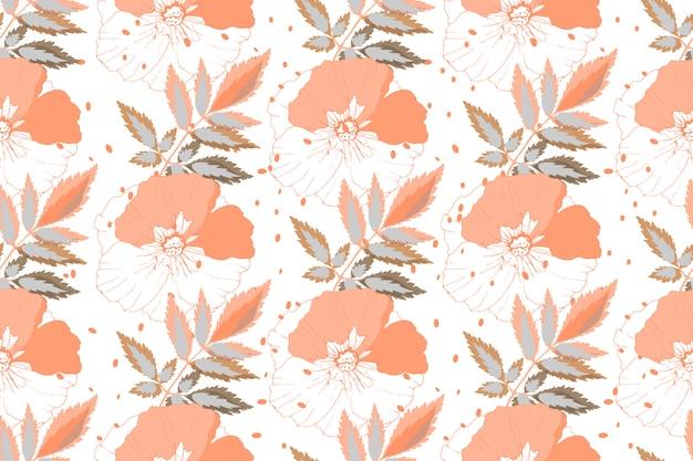 Motivo floreale senza soluzione di continuità. fiori di corallo di colore con le foglie isolate