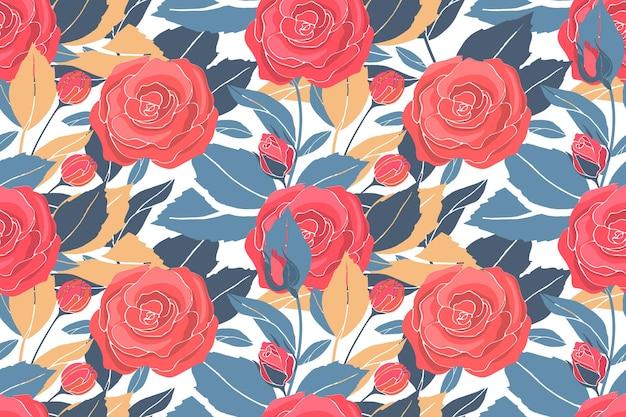 Modello senza cuciture floreale di arte con rose rosse, foglie gialle e blu.