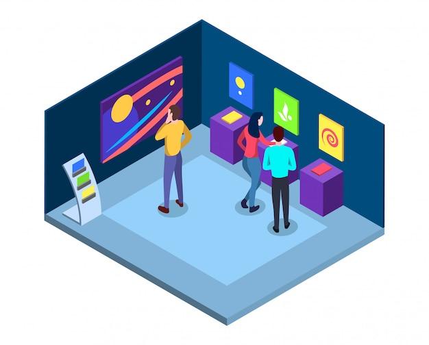 Illustrazione isometrica della galleria d'arte. interno del museo con capolavori, quadri astratti murali, reperti contemporanei. visitatori di personaggi piatti della mostra artistica. esposizione d'arte 3d