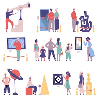 Galleria d'arte, visitatori di mostre museali e personaggi guida. insieme dell'illustrazione di vettore del fumetto di mostra del pezzo forte del museo. le persone ammirano le mostre dei musei