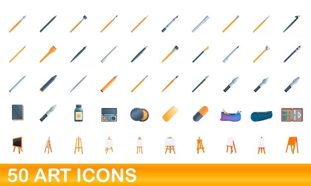 Set di icone di arte. illustrazione del fumetto delle icone di arte impostata su priorità bassa bianca