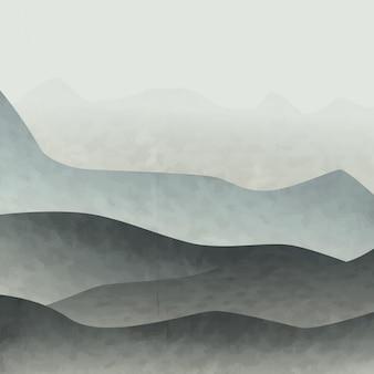 Illustrazione artistica delle montagne nella nebbia in colori blu pastello per gli interni.