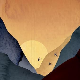 Illustrazione d'arte con montagne su uno sfondo di tramonto con uccelli in colori caldi e freddi per la decorazione.