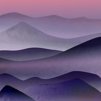 Illustrazione di arte con le cime delle montagne nella nebbia all'alba. immagine per decorazione d'interni, poster, social network