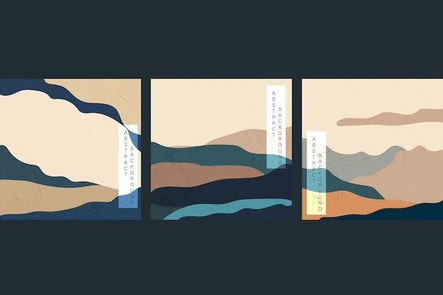 Priorità bassa di paesaggio di arte con onda giapponese