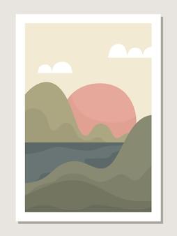 Parete del paesaggio artistico. paesaggio astratto con le montagne