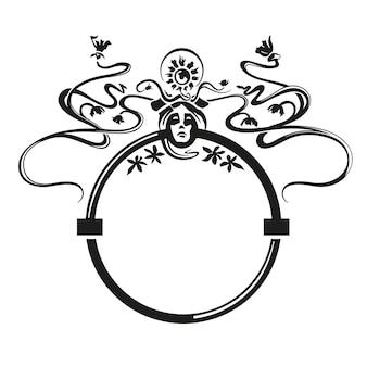 Modello di ornamento art nouveau con fiori e viso graziosa figura vintage disegno nero su carta