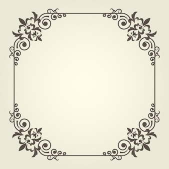 Cornice quadrata in stile art nouveau con angoli ricci decorati