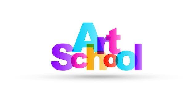 Illustrazione semplice di lettere luminose della scuola d'arte