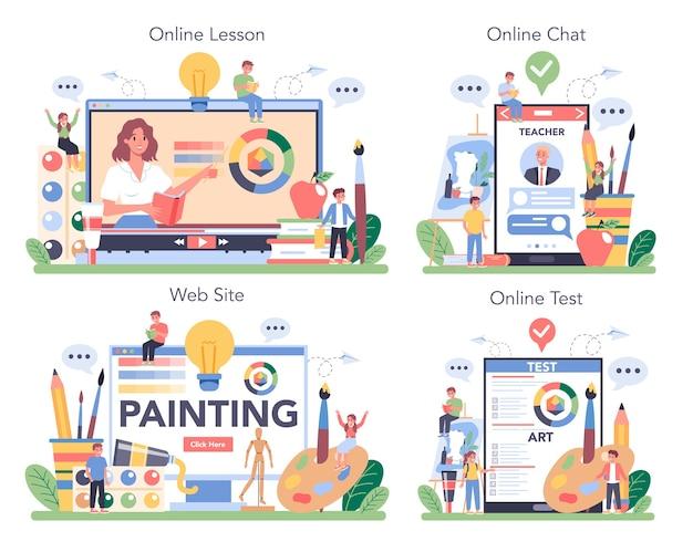 Servizio online di educazione alla scuola d'arte o set di piattaforme