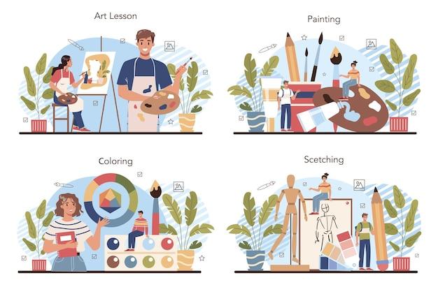 Insieme di educazione alla scuola d'arte. studente in possesso di strumenti artistici che imparano
