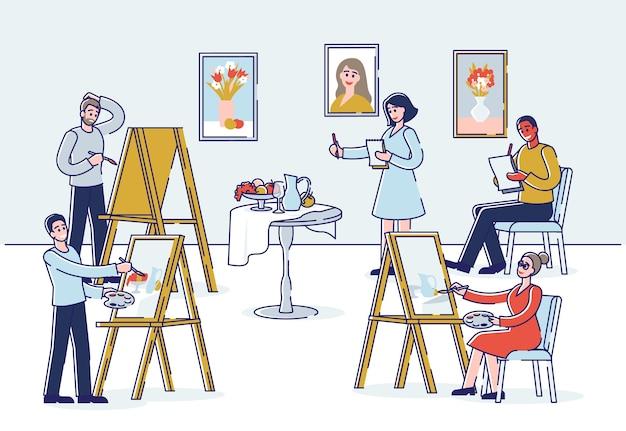 Art school creatività umana e talenti persone studiano per dipingere