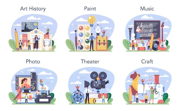Materia della scuola d'arte o set di classi educative. studente che studia direzione artistica