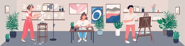 Illustrazione di colore piatto studio d'arte