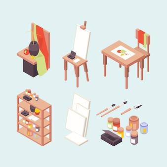 Studio d'arte. artisti professionisti designer creatori oggetti cavalletti pennelli vernici podio posto di lavoro isometrico di vettore. studio d'arte professionale, illustrazione scuola isometrica di vernice