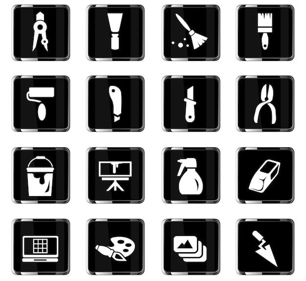 Icone vettoriali di strumenti artistici per la progettazione dell'interfaccia utente