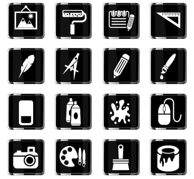 Icone web di strumenti artistici per la progettazione dell'interfaccia utente
