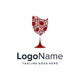 Arte bicchiere da vino semplice elegante creativo geometrico moderno logo design