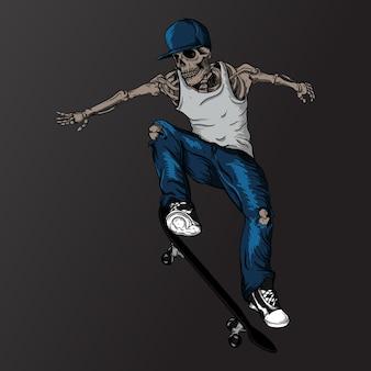 Scheletro di skateboarder di progettazione dell'illustrazione dell'opera d'arte