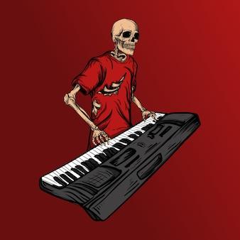 Tastierista scheletro di progettazione dell'illustrazione dell'opera d'arte