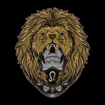 Illustrazione dell'opera d'arte e disegno della maglietta astratto zodiaco del cranio del leone
