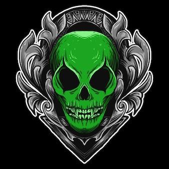 Illustrazione dell'opera d'arte e design della maglietta ornamento dell'incisione del cranio alieno