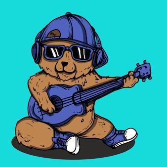 Illustrazione di opere d'arte e design t-shirt orso con carattere di chitarra vettore premium