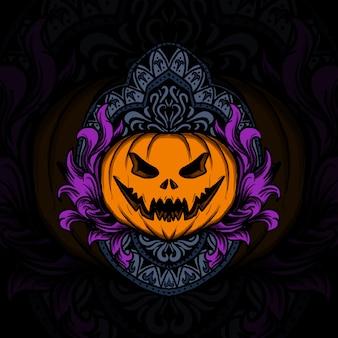 Illustrazione dell'opera d'arte e design della maglietta ornamento dell'incisione della zucca di halloween