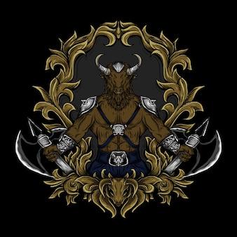 Illustrazione dell'opera d'arte e ornamento dell'incisione del minotauro di design della maglietta