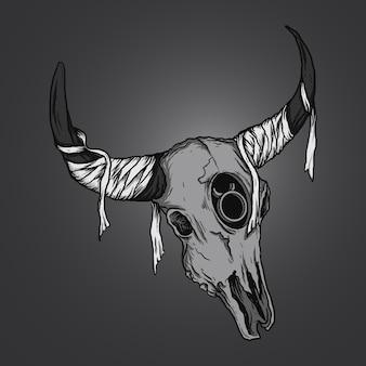 Illustrazione dell'opera d'arte e design della maglietta dello zodiaco del teschio del toro